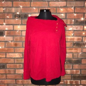 Rafaella Bright Red Sweater Warm Cowl Neck